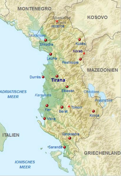 Karte Albanien.Kinderweltreise ǀ Albanien Land