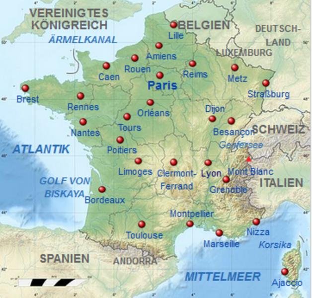 Frankreich Karte Stadte.Kinderweltreise ǀ Frankreich Land