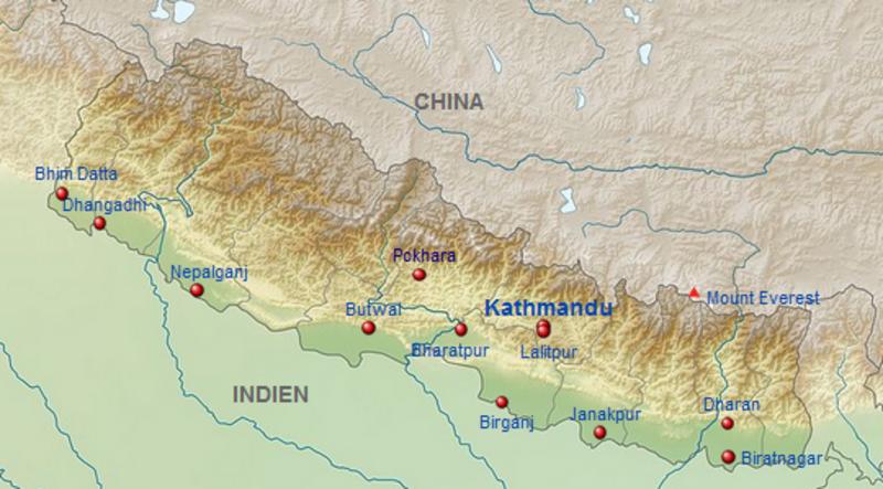 Himalaya Berge Karte.Kinderweltreise ǀ Nepal Land