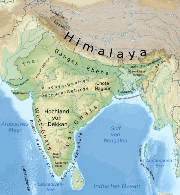 Himalaya Berge Karte.Kinderweltreise ǀ Indien Land