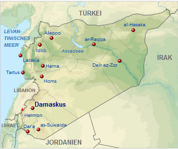 Syrien Karte Mit Städten.Kinderweltreise ǀ Syrien Land