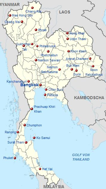 Thailand Karte.Kinderweltreise ǀ Thailand Land
